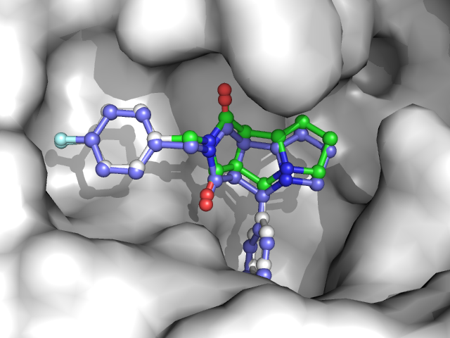 Best scoring pose found by Smina in redocking experiment based on PDB file 1OYT.