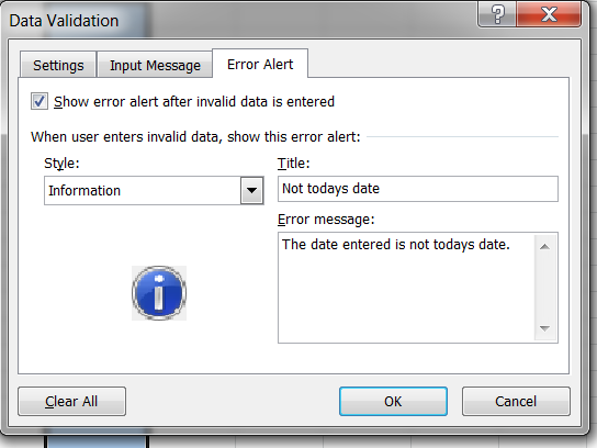 Configure the Data Validation to give information message only