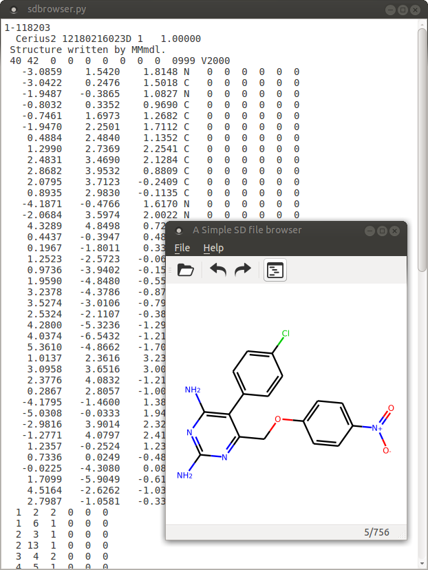 rdkit based molecule browser and molblock viewer