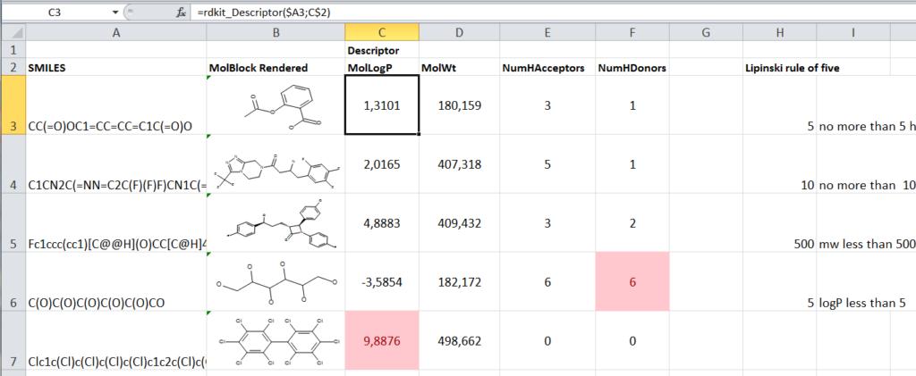 RDKit descriptors in Excel with XLwings